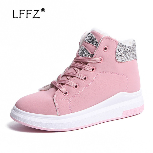 LFFZ Women Boots Warm Winter Boots Female Casual Shoes Suede Ankle Boots Women Botas Mujer Flat Plush Insole Snows Ladies Shoes