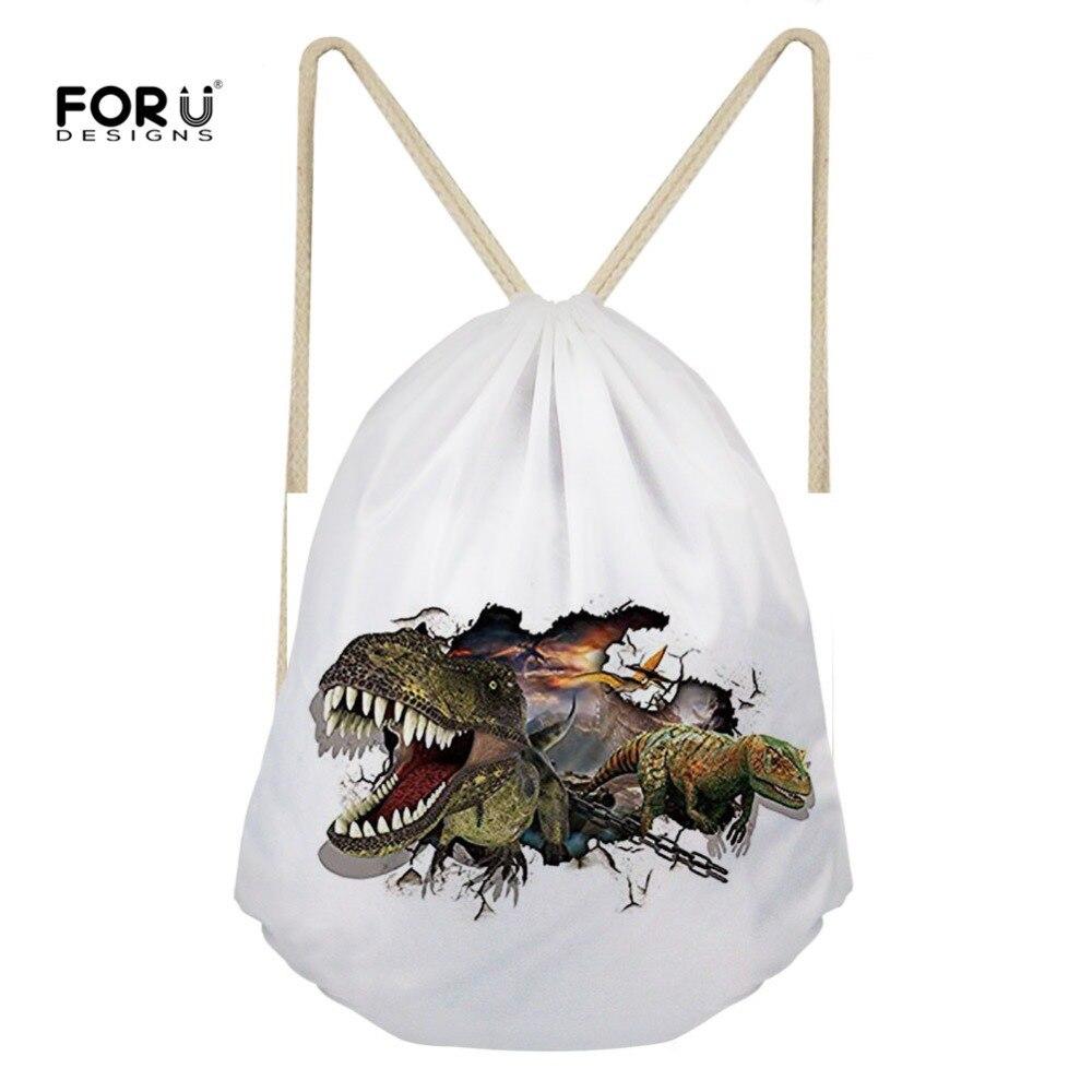 Forudesigns Frauen Rucksack Kleine Kordel Tasche Weiß Kühlen 3d Dinosaurier Tier Druck Lagerung Schulter Taschen Für Mädchen Frau String Angenehm Im Nachgeschmack