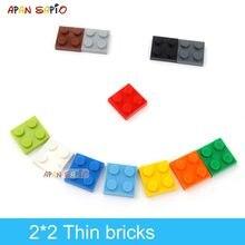 120 stücke DIY Bausteine Dünne Zahlen Bricks 2x2 Punkte Pädagogisches Kreative Größe Kompatibel Mit 3022 Kunststoff Spielzeug für Kinder