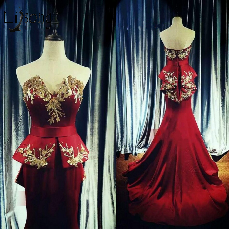 Elegant Wine Red Long Mermaid Prom Dresses With Gold Embroidery Pearls Peplum Prom Gowns Off Shoulder