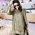 Vintage Bronzing Golden Color Mid Long Sweater Retro Cable Twist Knit Ribbed Panel Jumper Vintage Women's Knitwear Tops Gold