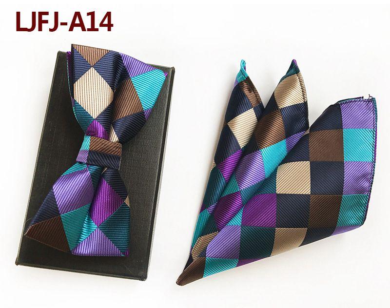 Мужской модный галстук набор полиэфирных шелковых галстуков наборы из двух частей жаккардовые галстуки для мужчин галстук носовой платок галстук-бабочка - Цвет: LJFJ-A14