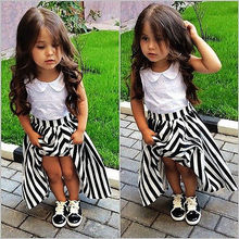 2016 Children Baby Girls Party Dress Stripe Gown Formal Dresses Sundress Clothes 2-7Y
