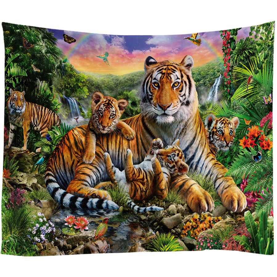 3D 虎タペストリービッグ壁掛けサイケデリックタペストリー虹滝山動物壁タペストリー自由奔放に生きる装飾壁布