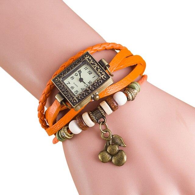 relogio 2018 women bracelet watch Quartz Weave Around PU Leather Cherry Bracelet