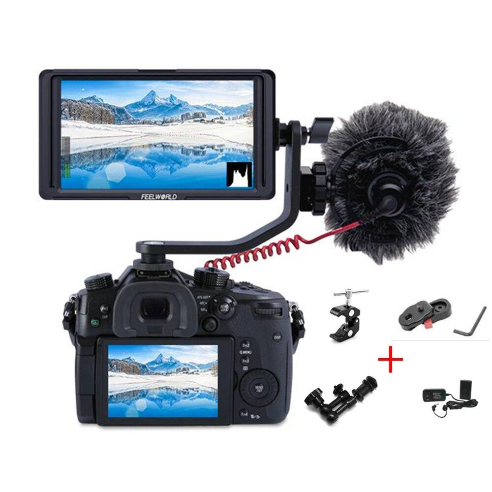 FEELWORLD F5 5 Polegada DSLR Camera Campo Monitor IPS Full HD 1920x1080 Suporte 4 K de Entrada e Saída HDMI braço de inclinação de Saída de Energia