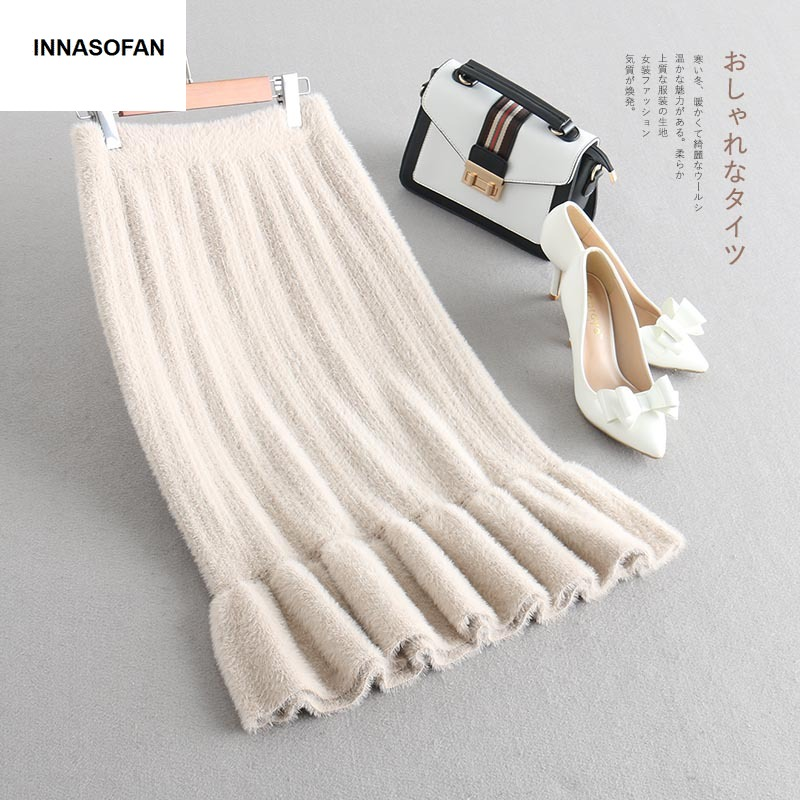 INNASOFAN skirt women Autumn winter Imitation velvet knitted skirt high waist Euro American fashion elegant skirt