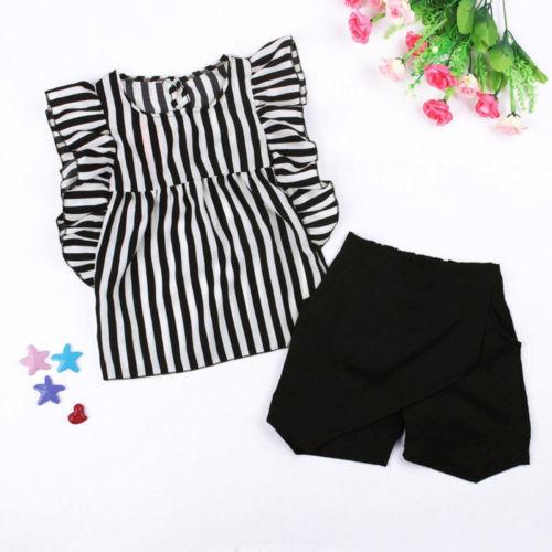 >2PCS Fashion Toddler Kids Girls Clothes Striped Tops <font><b>Blouse</b></font> <font><b>Shorts</b></font> <font><b>Pants</b></font> Outfits Children Clothing Sunsuit Summer