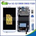 Branco display lcd original para lg optimus g2 d800 d802 f320 digitador da tela de toque peças de reposição assembléia com frame + ferramentas
