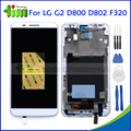 White Original For LG Optimus G2 D800 D802 F320 LCD Display Touch Screen Digitizer Assembly Replacement Parts with Frame +Tools