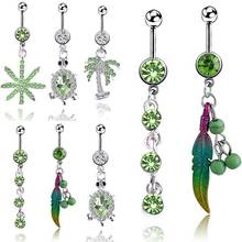 5pcs Small Fresh Green Leaf Turtle Navel Ring Belly Nail Bar fake gauges piercings Stainless steel Crystal Body Jewelry