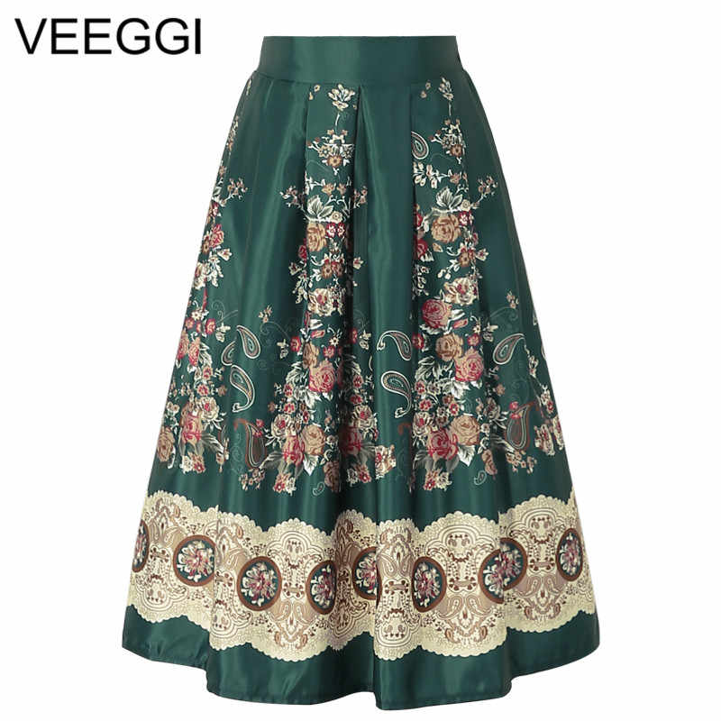 83a100d804 Detail Feedback Questions about VEEGGI 2018 New Arrival Ethnic Floral Print Skirts  Women Clothes High Waist Pleated Skirt Elegant Vintage Midi Saia A1608006  ...