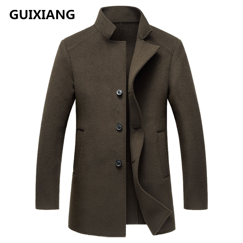 GUIXIANG 2017 Men's high quality double-faced woolen trench coat jacket Men's casual woolen jackets wool men coat size M-2XL