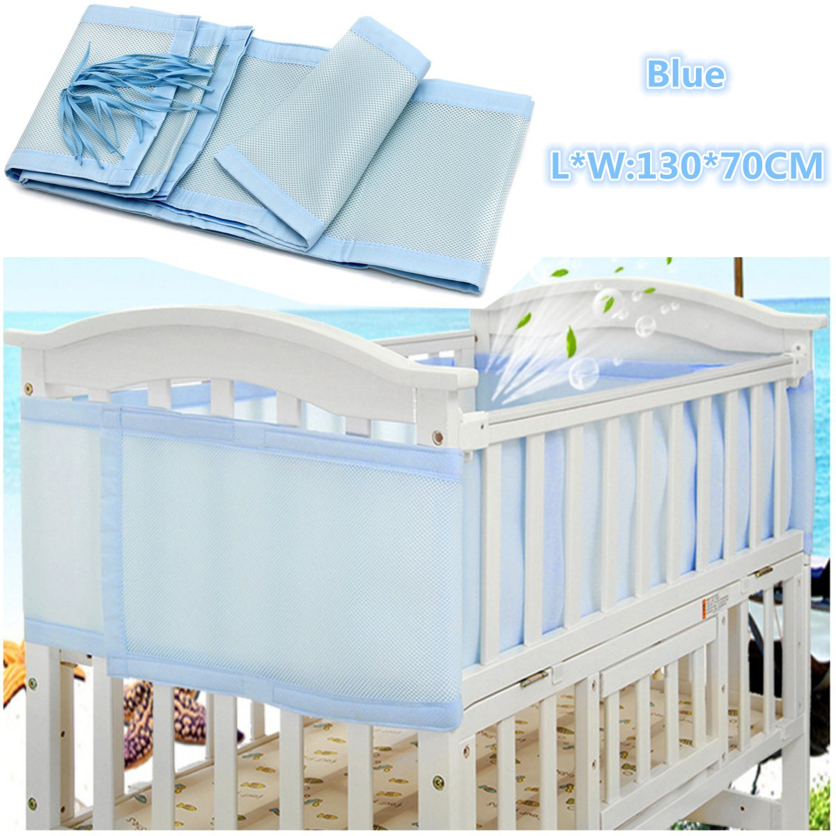 Crib protector for babies - Breathable Blue Infant Baby Air Pad Cot Bumper Mesh Protection Cover Infantile Bedding Baby Safety Baby