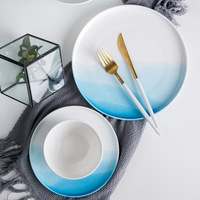 Dishes & Plates Japanese Gradient color steak dish hand drawn wave breakfast plate Under Glazed household hotel tableware