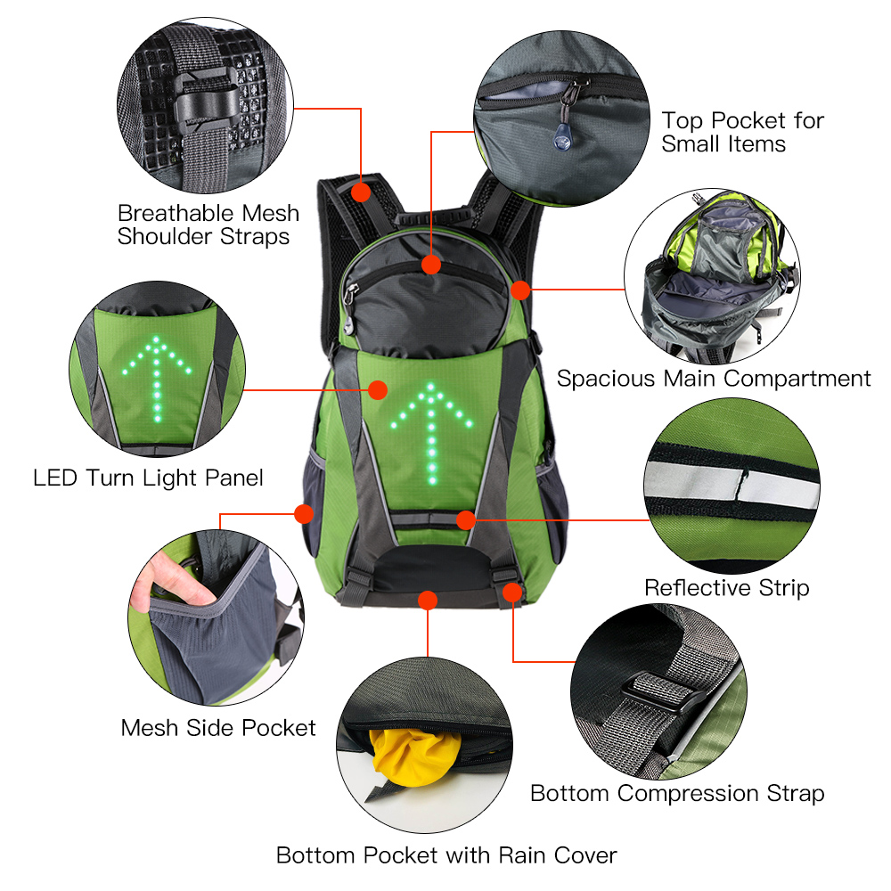 Lixada Bike Bag Usb Reflective Vest Backpack With Led Turn Signal Light Remote Control Sport Safety Bag Gear For Cycling Buy One Give One Bicycle Bags & Panniers