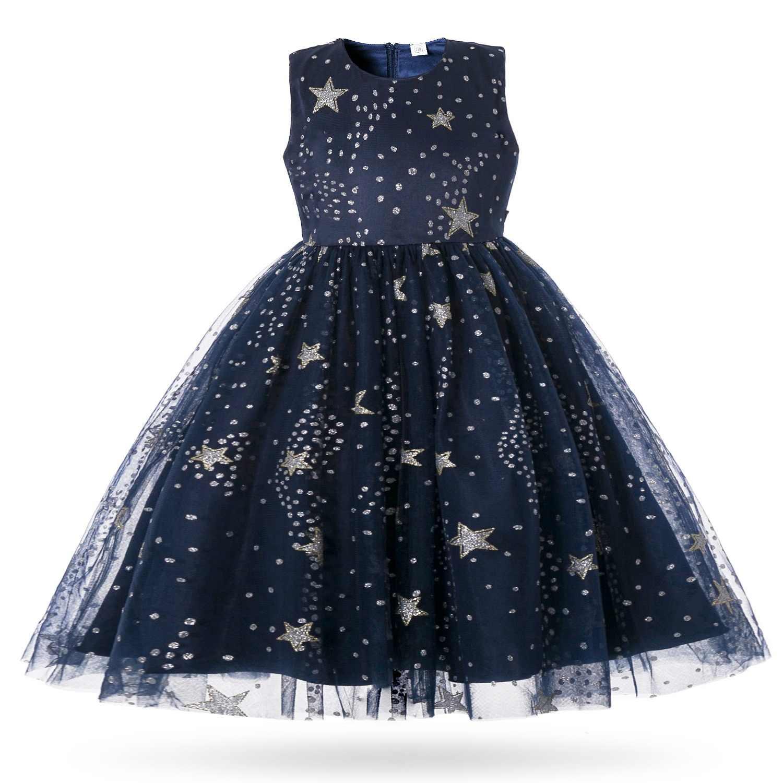 7ec0d8c58 Cielarko Formal niñas Vestido largo de lentejuelas estrella princesa Noche Vestidos  Fiesta de niños vestido Vintage