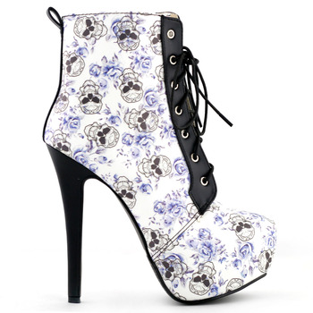 Blue Skull Floral Black Lace Up Gothic Club Ankle Boots Size 4/5/6/7/8/9/10