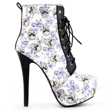 LF80837 Sexy Blue Skull Floral Black Lace Up Gothic Club Ankle Boots Size 4/5/6/7/8/9/10
