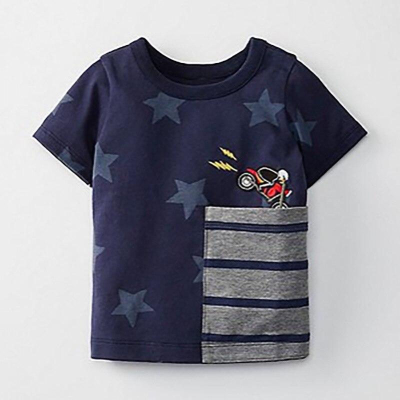 Little Maven/Новая летняя одежда для детей коротким круглым воротником синего цвета со звездами карман мотоцикл Вязаный милый хлопок качества дл...