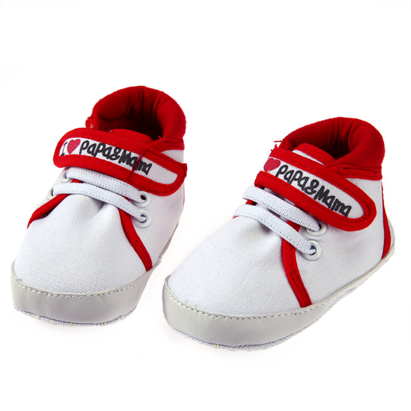 Baby Canvas Shoes Newborn Boy Girl Soft Sole Shoes Non Slip Sneakers I Love Mom Papa Letter Print Toddler Shoes Baby Moccasins