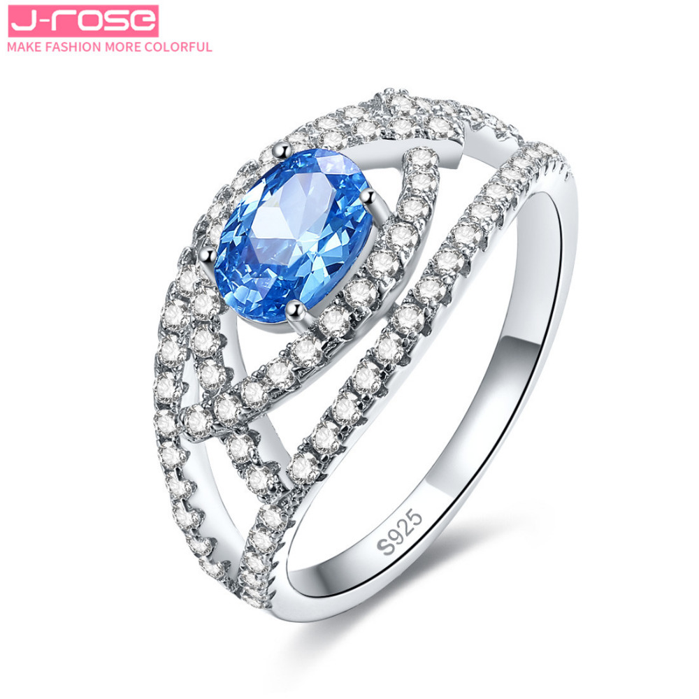 Jrose Princess Oval Cut Sky Blue Cz Engagement Ring Genuine 925 Sterling  Silver Jewelry For Women Size 6 7 8 9