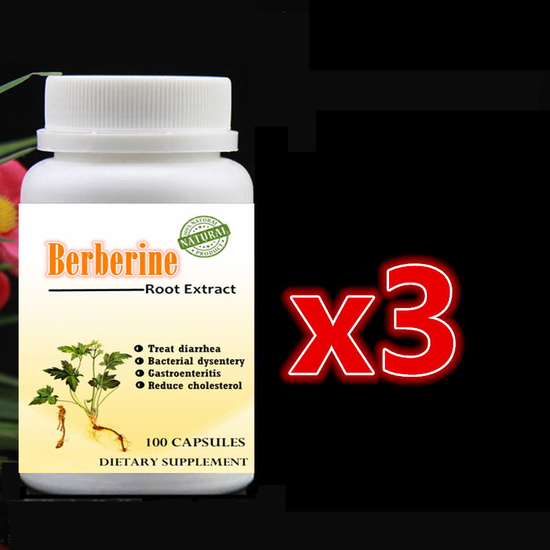 3 X 100pcs Control Blood Sugar Supplement Berberine Extract Coptis Supports Cardiovascular and Supports Mental and Brain Fuction gmp factory supply natural phellodendron extract berberine hydrochloride 98% hplc