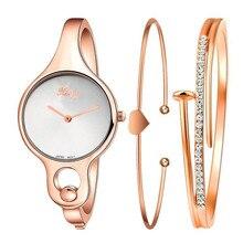Women's Watch Rose Gold Crystal reloje mujer 2017 montre femme Women  Casual DressRhinestone Bangle Watch And Bracelet Set 0621