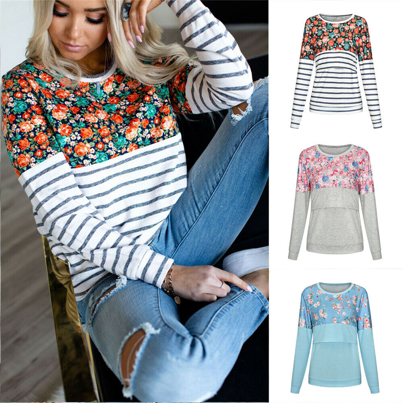 Casual Striped Floral Women Long Sleeve Maternity Tops Breastfeeding Tops Ladies T-Shirt Loose Pregnancy Loose Clothes T Shirt