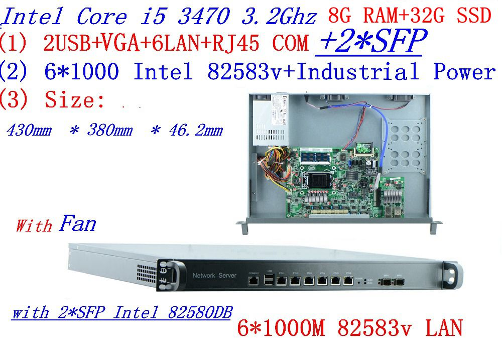 8G RAM 32G SSD 1U Firewall Server Router With 6*1000M 82583v Gigabit With 2*SFP InteL I5 3470 3.2Ghz Support ROS RouterOS Etc