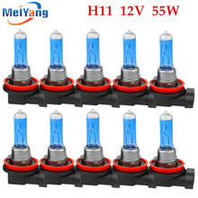 цены 10pcs H11 55W 12V Super White Halogen Bulb Fog Lights High Power Car Headlights Lamp Car Light Source parking auto