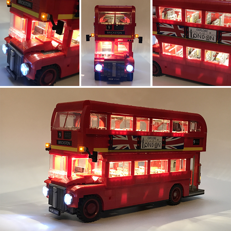 Led Light Set For Lego technic 10258 London bus Building bricks Compatible 21045 Creator City Blocks Toys Gifts (only LED light)(China)