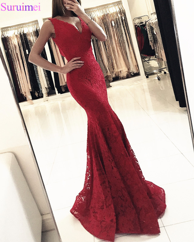 2018 Mermaid Long   Evening     Dresses   V-Neck High Quality Lace Prom Party Gown Custom Made Sleeveless Red   Evening   Gown Vestido Longo