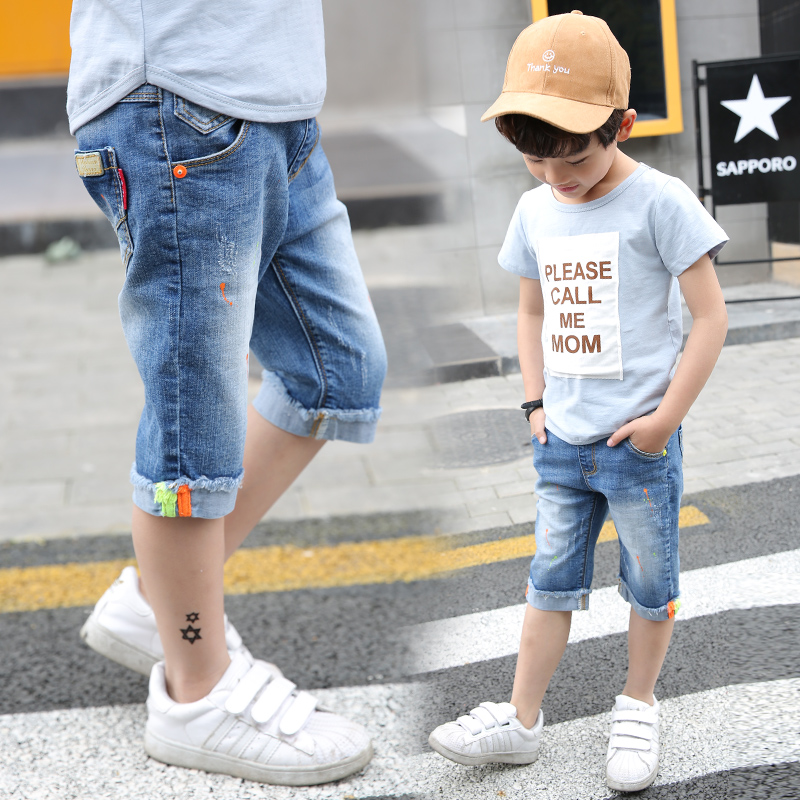 5 To 14 Years Boys Denim Shorts 2018 Boys Shorts Summer Baby Cowboy Casual Short Pants Boy Denim Shorts Trousers Children Boys destroyed raw hem denim shorts