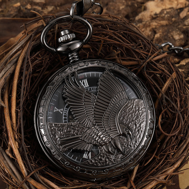 Steampunk Black Mechanical Pocket Watch Large Eagle Vintage Skeleton Pocket & Fob Watch Men Wome Hollow Pendant Watch Box Gift
