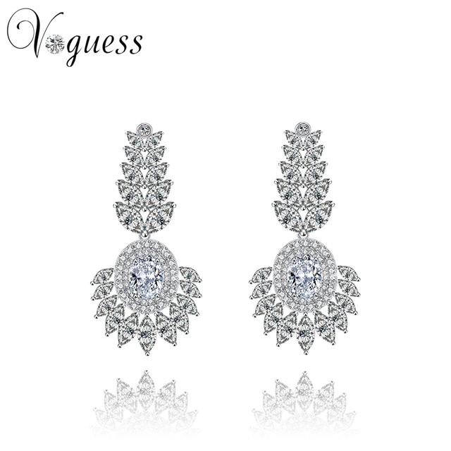 VOGUESS New Brand 2016 Hot Sale Exquisite Stud Earring with Top Quality AAA Zircon Earrings for Women Fashion Cheap Jewelry