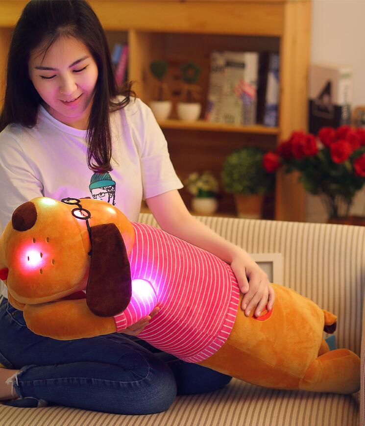 75cm Super Sweet Sleeping Pillow Dog Plush Large Flashing Night Light Educational Toys for Children Stuffed Cartoon Lovely Doll super cute plush toy dog doll as a christmas gift for children s home decoration 20