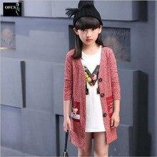 2016 Nouvelle Vente Automne Filles De Mode Tricoté Cardigan Chandail de Manteau Enfants Vêtements Enfants Mode Casual Long Tricots Veste
