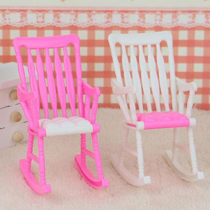 Cute House Room Decoration assemble Mini Rocking Chair Accessories for Doll Furniture Children Girls Toy Gift Color random
