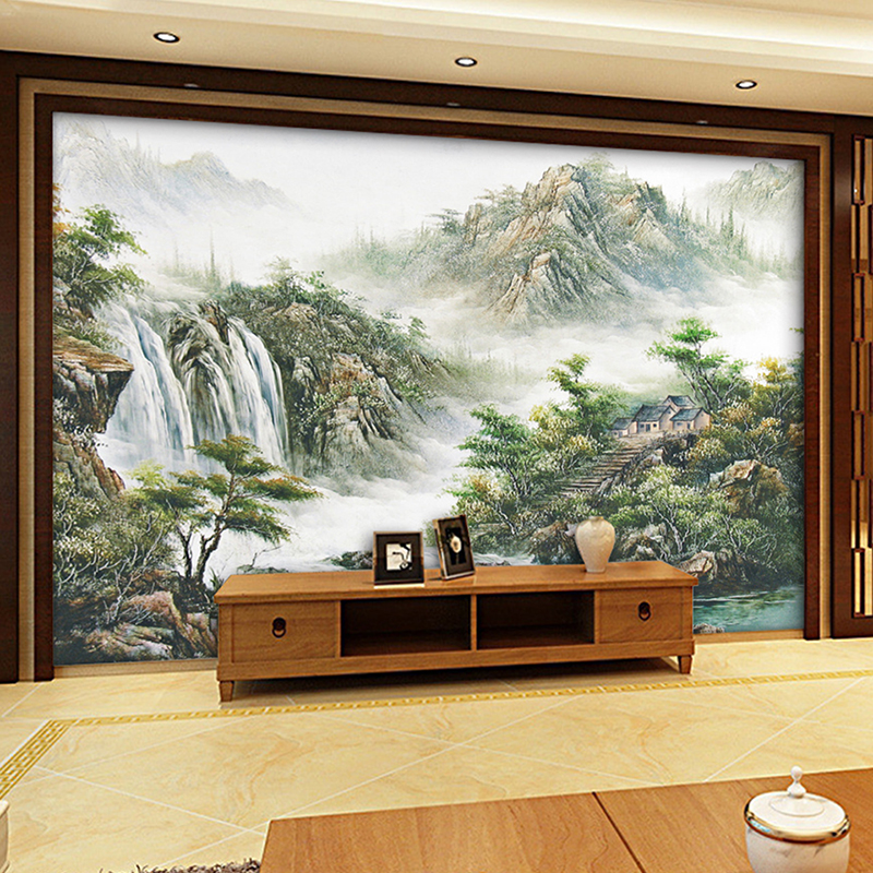 Custom wall mural wallpaper chinese style landscape printed living room sofa tv background home decor wallmurals wallpaper in wallpapers from home