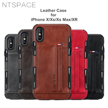 NTSPACE Retro Leather Wallet Phone Case For iPhone X XR Xs Max Card Slot Cover Cases 8 7 6 6s Plus Coque