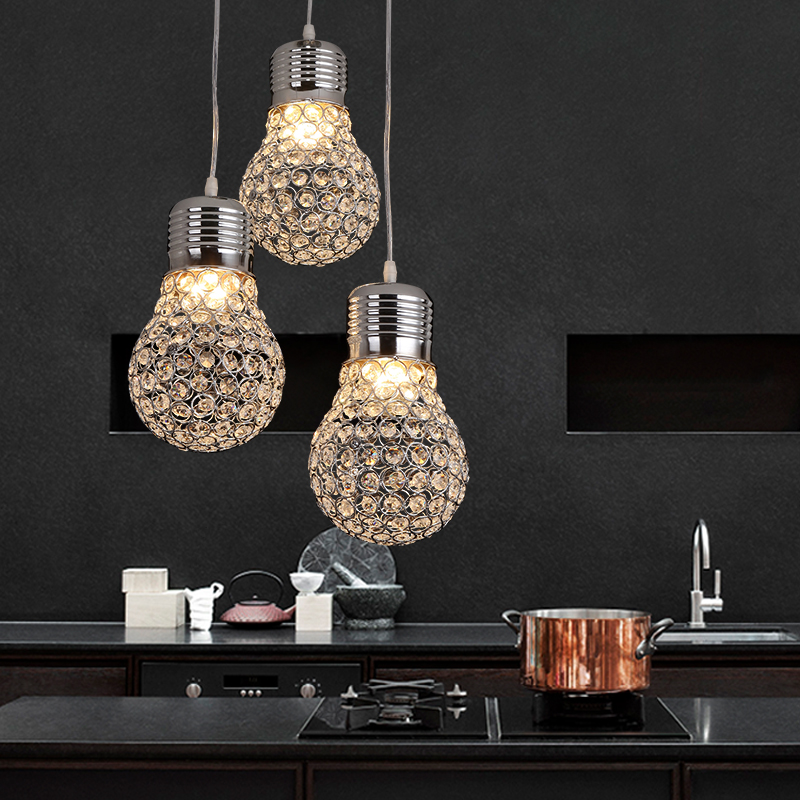New Fashion Creative Hand Knitted K9 Crystal Bulb Design Led E27*3 Pendant Light for Dining Room Restaurant Living Room 1434 free shipping original7 inch lcd screen original cable number lms700kf15 fpc