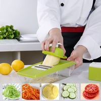 Adjustable Mandoline Slicer with 4 Interchangeable Stainless Blades Vegetable Cutter Slicer Grater Shredder with Storage Z30