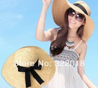 Wholesale Women Natural Big Floppy Straw Hats NEW Womens Wide Brimmed Straw Hat Ladies Large Sun Cap Lady Summer Brim Beach Caps