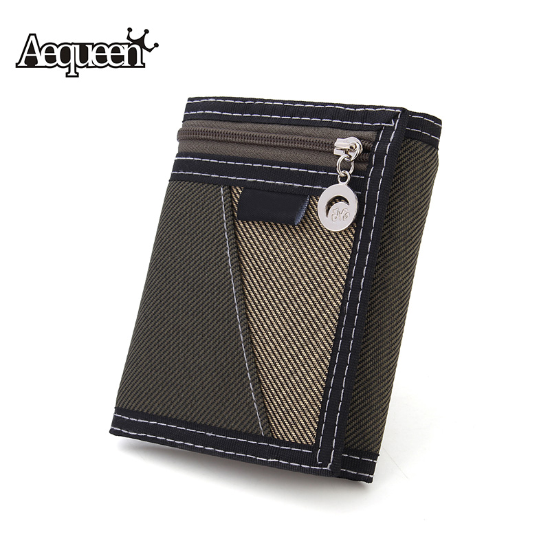 AEQUEEN Casual Trifold Short Wallet Men Canvas Fashion Purse Vertical Patchwork Design Coin Purses Male Card Holder Money Bag