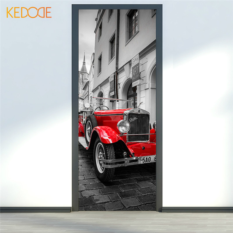 plaza de praga kedode de camioneta roja de renovacin de la puerta de madera