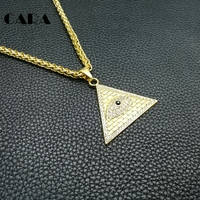 CARA Golden Egyptian Pyramid necklaces pendants Men Women Iced Out Crystal Illuminati Evil Eye Of Horus Chains Jewelry CAGF0246