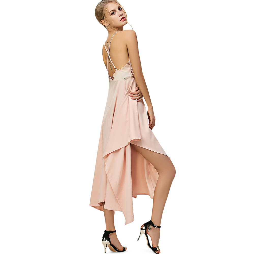 New hot summer Italian temperament personality irregular sequin embroidery sling hollow nightclub sexy ladies dress