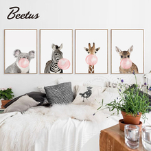 Nordic Style Kids Decoration Animals That Blow Chewing Gum Print Canvas Art Posters Painting Wall Pictures For Living Room