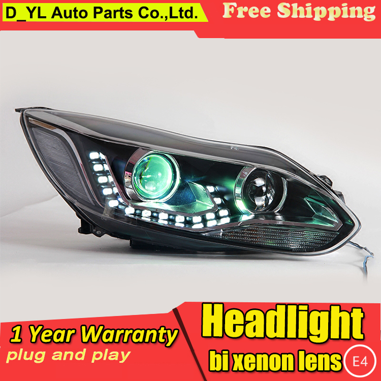 High quality Car Styling Head Lamp case for Ford focus 2012 15 LED Headlight DRL Daytime